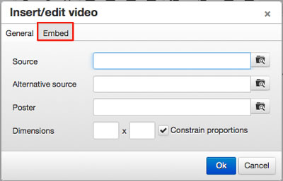 Insert/edit video popup